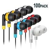 Bulk Earbuds Headphones Wholesale Earphones - Keewonda 100 Pack Disposable Ear Buds Bulk Multi Colored Headphones for School Classroom Students