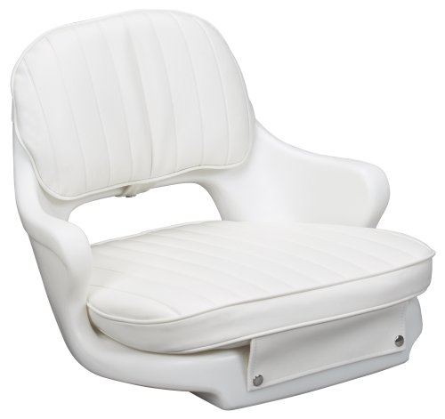 Moeller Heavy Duty Standard Boat Helm Seat, Cushion, and Mounting Plate Set (18.50-Inches L x 17.50-Inches W x 13.50-Inches H, White)
