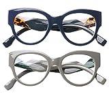 SOOLALA Ladies Modern Fashion Prescription Eyeglass Frame Cat Eye Reading Glass, BlueGray, 3.5