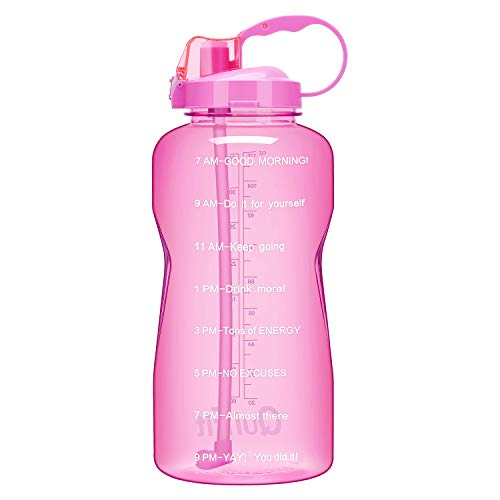 QuiFit Gallon Sport Water Bottle with Drinking Straw and Motivational Time Marker BPA Free Reusable 64/128 oz Large Capacity Ensure Your Daily Water Intake(Pink 64oz)