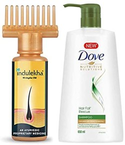 Indulekha Bhringa Hair Oil, 100ml And Dove Hair Fall Rescue Shampoo, 650ml