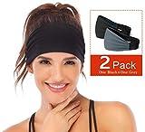 Heathyoga Non-Slip Headband for Women -Silicone Grippy Sweatband & Sports Headband for Workout, Running, Crossfit, Yoga Bike Helmet Friendly, Performance Stretch & Moisture Wicking (2pack)