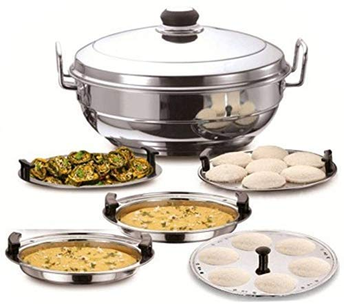 41dhQo4 7KL - WayMore Kalash All-in-One Stainless Steel Idli Cooker Multi Kadai Steamer with Induction Bottom, Big Size with 5 Plates 2 Idli; 2 Dhokla; 1 Patra Plate