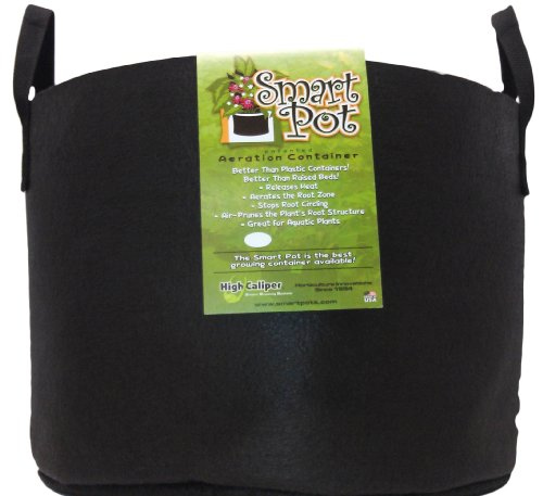 Smart Pots 15-Gallon Smart Pot Soft-Sided Container, Black with Strap handles