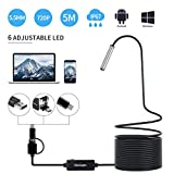 Endoscope USB, KinCam 3 in 1 Semi-Rigid USB Borescope 1200P HD with 5.5mm Waterproof Snake Camera with 6 Adjustable Led for Android Smart Phone, Tablet, PC & MacBook (5M / 16.5FT) (USB-Endoscope)