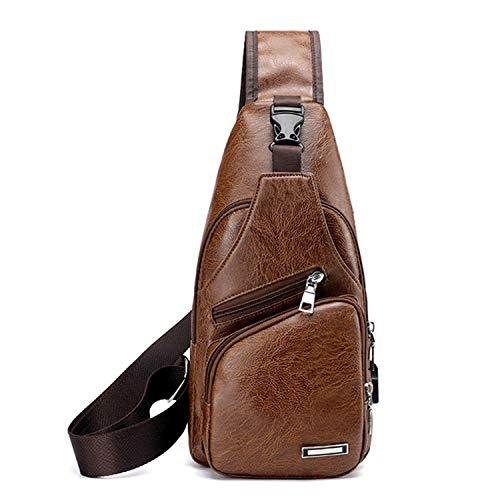 Men Shoulder Crossbody Sling Bag, PU Leather Chest Backpacks Crossbody Daypacks with USB Charging Port for Outdoor Activities (Light Brown) 15 Fashion Online Shop gifts for her gifts for him womens full figure