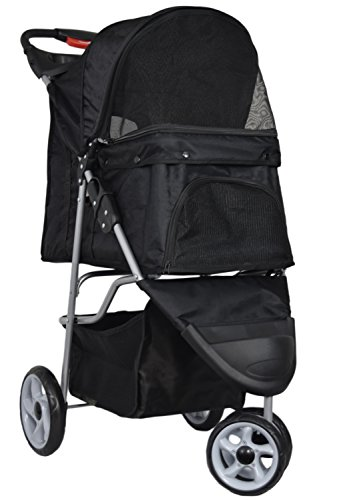 VIVO Three Wheel Pet Stroller, for Cat, Dog and More, Fordable Carrier Strolling Cart, Multiple Colors 1