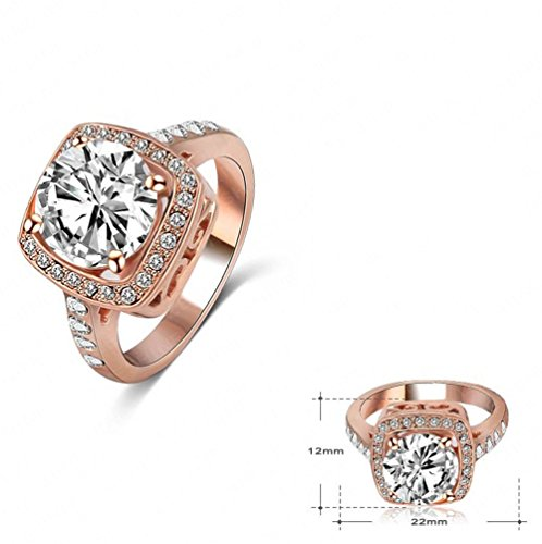 3f2a3b156 LuckyWeng New Exquisite Fashion Jewelry Rose Gold Square Austrian Crystal  Diamond Zircon Ring