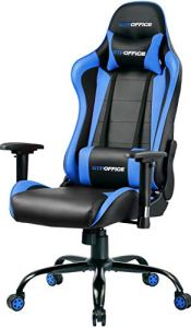 Gaming Chair Office Computer Racing Style Ergonomic Conference Executive Manager Work Chair Adjustable Swivel Leather High Back Desk Task Chair (Blue)