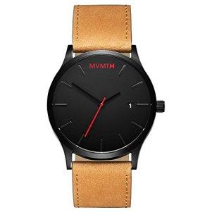 MVMT Classic Watches | 45 MM Men's Analog Minimalist Watch | Black Tan