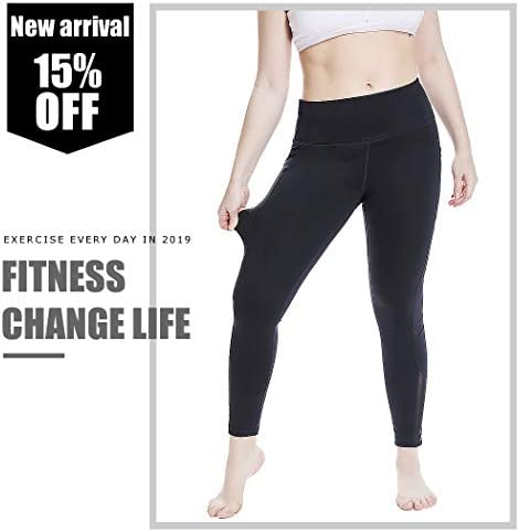 YOHOYOHA Women's Yoga Pants Plus Size Breathable Mesh Splice Tummy Control Best Long Workout Fitness Pants for 4 Way Stretch 6