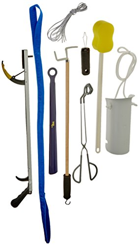 Sammons Preston 81603273 Deluxe Hip/Knee Kit, Premium Recovery Kit Total Knee or Hip Surgery, Includes Reacher, Leg Lifter, Sock Aid, Shoehorn, Toilet Aid, Dressing Stick, Button Hook, Shoelaces, & Sponge