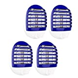 4 Pack Plug in Electronic Insect Killer Bug Zapper Mosquito Lure Lamp Pest Control Eliminates Flying Pests Gnat Trap Indoor with Night Light