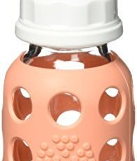 Lifefactory BPA-Free Glass Baby Bottle with Protective Silicone Sleeve and Stage 1 Nipple
