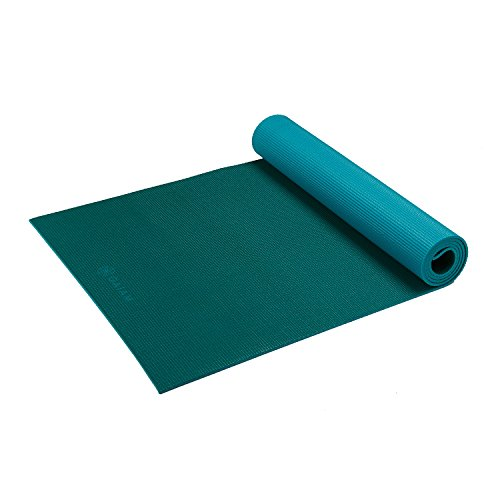 Gaiam Yoga Mat Classic Solid Color Reversible Non Slip Exercise & Fitness Mat for All Types of Yoga, Pilates & Floor Exercises, Turquoise Sea, 3/4mm