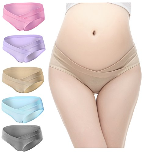 PIDAY Women's Under the Bump Cotton Maternity Hipsters Panties Multi Pack,XXL