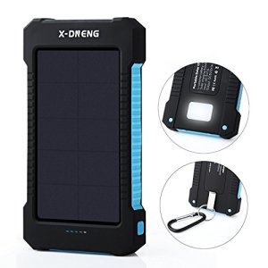 Solar Chargers,X-DNENG 10000mAh Portable Solar Power Bank High Efficiency Sunpower Cellphone Chargers Rain-resistant Dirt/Shockproof Backup with Dual USB Port Solar Battery Charger for USB Devices