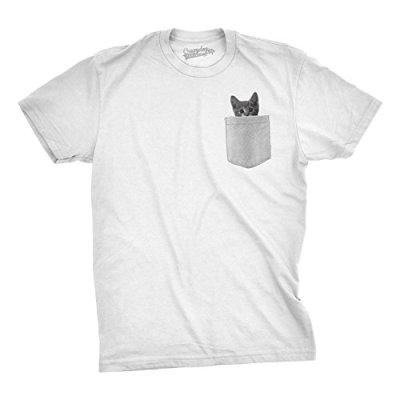 Mens Pocket Cat T Shirt Funny Printed Peeking Pet Kitten Animal...