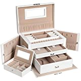SONGMICS Jewelry Box, Girls Jewelry Organizer, Mini Travel Case, Mirror, Watch Organizer, Lockable, White UJBC121W