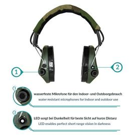 Sordin-Supreme-PRO-X-Noise-Reduction-Adjustable-Ear-Muffs-with-LED-Light-and-Gel-Seals-Camo-Headband-and-Green-Cups