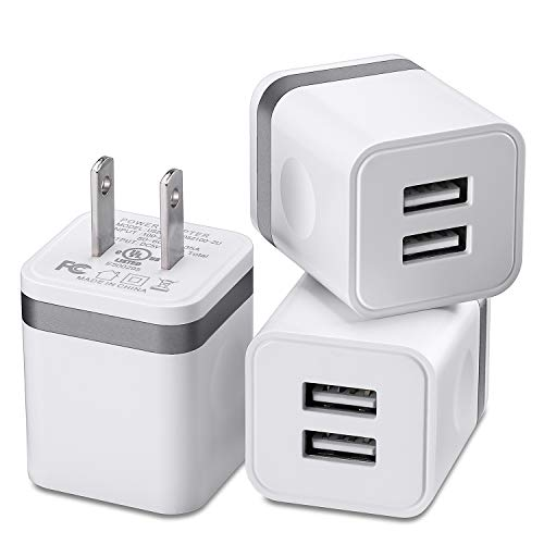 X-EDITION USB Charger, Charging Block 3-Pack 2.1A Dual Port Wall Charger Plug Power Adapter Charging Cube Compatible with Phone Xs Max XR X 8 7 6S 6 Plus 5, Samsung, LG, Kindle, Android More