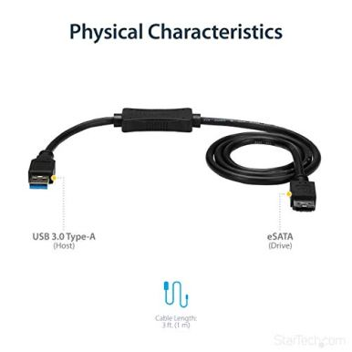 StarTechcom-3-ft-USB-30-to-eSATA-Adapter-6-Gbps-USB-to-HDDSSDODD-Converter-Hard-Drive-to-USB-Cable-USB3S2ESATA3