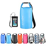 OMGear Waterproof Dry Bag Backpack Waterproof Phone Pouch 40L/30L/20L/10L/5L Floating Dry Sack for Kayaking Boating Sailing Canoeing Rafting Hiking Camping Outdoors Activities (Light blue2, 10L)