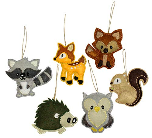 Darware My Forest Friends Christmas Ornament Set (6-Piece Set); Plush Holiday Animal Tree Decoration Set with Baby Woodland Creatures: Fox, Raccoon, Squirrel, Porcupine, Deer & Owl