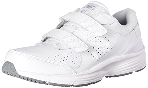 New Balance Women's WW411v2 Hook and Loop Walking Shoe, White, 11 2A US