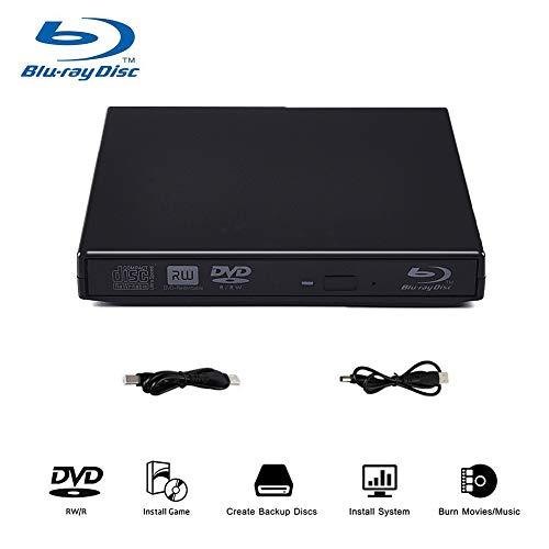 Blu-ray DVD Drive External, 3D 4K Player USB 3.0 Blu ray DVD CD Burner BD Player CD Re-Writer Ultra-Slim Portable Drive Compatible for Mac Book OS Windows 7 8 10 PC (Silver)