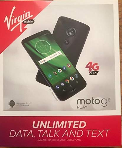 Virgin Mobile Motorola G6 Play 16GB Prepaid Smartphone, Black (Locked)