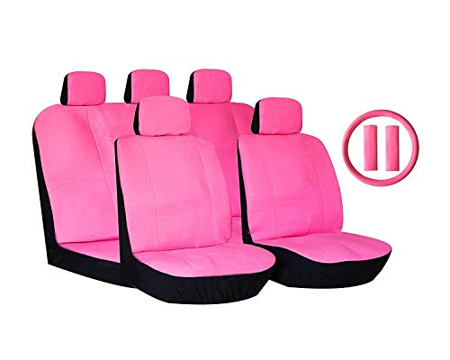 LavoHome Stylish Retro Solid Pink Premium Car Seat Covers