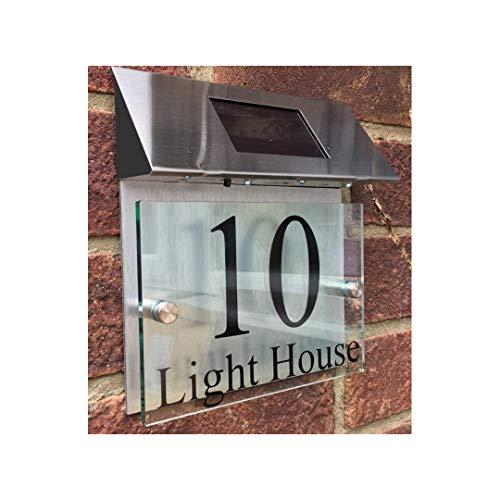 ThedisplayDeal Custom House Addres Door Plaque, Solar Powered, Glass Look Acrylic & Brushed Aluminum Double Panel, Text Area 7'x5' (Solar Panel)