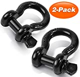 "Shackles 3/4"" 2 PACK, Ohuhu 3/4"" D-rings Shackle Rugged 28.5 Ton (57,000 lbs) Maximum Break Strength, 4.75 Ton (9,500 Lbs) Capacity - Heavy Duty Towing D-rings for Jeep Vehicle & Truck Recovery"