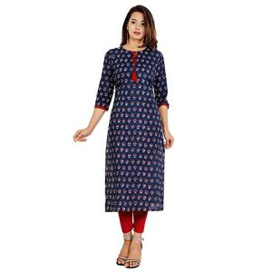 Shades N Shadows Women Cotton Straight Kurti (Blue)