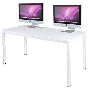 DlandHome 55' Large Computer Desk, Composite Wood Board, Decent & Steady Home Office Desk/Workstation/Table, BS1-140WW White & White Legs, 1 Pack