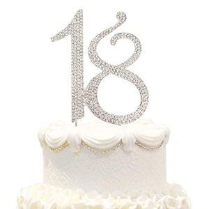 Hatcher lee 18 Cake Topper 18Years Birthday 18TH Wedding Anniversary Silver Crystal Rhinestone Party Decoration (Silver) 41eWW3JQ3QL