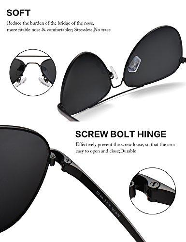677c9a7cf6 LUENX Men Women Aviator Sunglasses Polarized Non-Mirror Black Lens Black  Metal Frame with Accessories UV 400 Protection 60MM