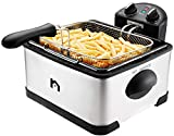 New House Kitchen Jumbo Size Deep Fryer with Adjustable Temp, Removable Basket and Oil Container, Timer and Temperature Control, Stainless Steel Exterior, Family Size Deep Fryer, 4.5 Liter Capacity