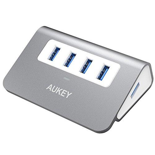 AUKEY USB Hub 3.0 Portable Aluminum 4 Port USB 3.0 Data Hub with 1.6ft USB Cable for MacBook Air, Mac Mini, iMac, Laptop, PC, USB Flash Drives, HDD Hard Drive (Grey)