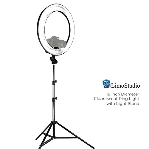 LimoStudio 18″ Ring Light Dimmable Fluorescent Continuous Lighting Kit 5500K Photography Photo Studio Light Stands with Carrying Case, AGG1774V2
