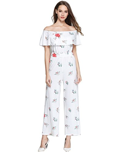 GUANYY Women's Off Shoulder Floral Printed Jumpsuit + Sexy Casual Sleeveless Backless Romper Slim Jumpsuit