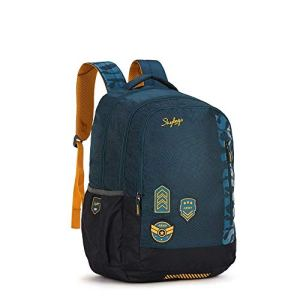 Skybags Stream Polyester 1811 cm Blue Spacious School Backpack with Rain Cover