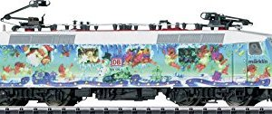 CLASS 120 ELECTRIC – STANDARD DC – MINITRIX — GERMAN RAILROAD DB AG (MARKLIN ART CHRISTMAS SCHEME, ERA V 1996, BLUE, RED) 41emlufdJ8L