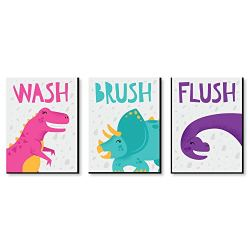 Big Dot of Happiness Roar Dinosaur Girl – Kids Bathroom Rules Wall Art – 7.5 x 10 inches – Set of 3 Signs – Wash, Brush, Flush