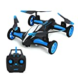 RC Drone Quadcopters - MKLOT JJRC H23 Flying Car Drone Air Ground Dual Mode Quadcopter 3D Flips 6-Axis RTF w/One-Key Return Headless Mode Led Lights Helicopter Gift for Boys Kids Children - Blue