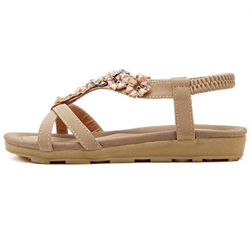 ef0ac94f9e8 Meeshine Women T-Strap Beaded Flower Gladiator Flat Dress Sandals Beach  Shoes