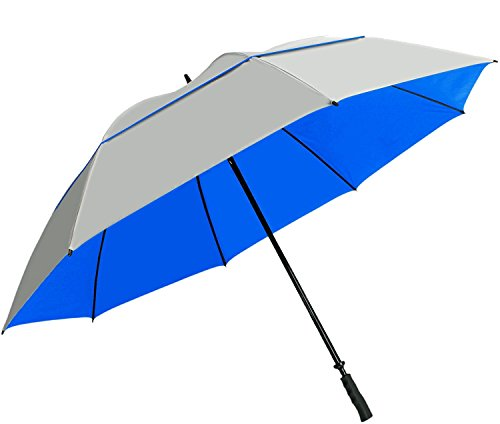 "Suntek 68"" Reflective UV Protection Windcheater Umbrella with Vented Double Canopy (Silver/Blue)"