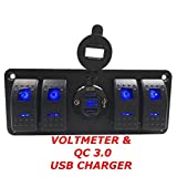 Switchtec 4 6 Gang Rocker Switch Panel with QC 3.0 USB Charger and Voltmeter, Blue Backlit LED, Pre-Wired all Waterproof components for Boat, Marine, Car, Truck, Jeep, Can Am, Razor(QC 3.0 & 4 switch)