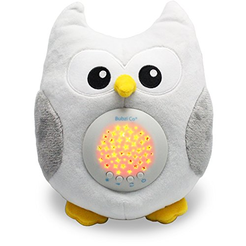 Bubzi Co White Noise Sound Machine & Sleep Aid Night Light. New Baby Gift, Woodland Owl Decor Nursery & Portable Soother Stuffed Animals Owl with 10 Popular Songs for Crib to Comfort Plush Toy